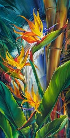 """""""Paradise and Her Birds"""": Vie Dunn-Harr floral art tropical flowers Silk Painting, Painting & Drawing, Painting Flowers, Tulip Painting, Painting Canvas, Canvas Art, Art Paintings, Watercolor Paintings, Modern Paintings"""