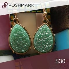 EARRINGS Gorgeous minty faux Druzy earrings! Ready for spring and ready to ship! Jewelry Earrings