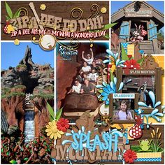 Zip-a-dee-do-dah! What a wonderful day! My new kit, Splashdown, will have you singing a happy song. It is perfect for your Splash Mountain pictures, but you will also find so many other layout i… Disney Scrapbook Pages, Scrapbook Sketches, Scrapbooking Layouts, Digital Scrapbooking, Disney Diy, Disney Land, Disney Stuff, Disney Parks, Walt Disney