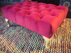 Large Pink Velvet Footstool. Queen Anne Legs. Stud detailing. Upholstered in pink velvet Clarke & Clarke fabric with colour-pop electric blue buttons. The legs are unpainted currently but can be done in the colour of your choice for a charge of £10. Measurements: height 32cm, width 48cm, length 73cm. Complies with UK fire regulations. Contact me for shipping costs. Alternatively you can arrange your own shipping.