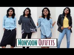 Monsoon Outfits/Rain Outfits - Cute Outfit Ideas in today's video. This monsoon lookbook with  4 cute outfit ideas will be perfect as the rainy day fashion. These monsoon day outfits can be worn by all girls who wants to look stylish under budget. Hope you get idea on what to wear in rain with these outfits for rain. Rain Outfits, Casual Outfits, Cute Outfits, Fashion Outfits, Fashion Tips, Rainy Day Fashion, Monsoon, Latest Fashion Trends, Outfit Of The Day