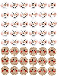 Snowman and gingerbread man faces