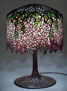 "tiffany wisteria lamps | 18"" Wisteria burgundy leaded glass and bronze Tiffany lamp #342"