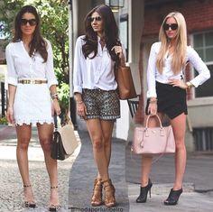 Camisa branca. Shorts ou saia.
