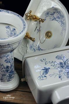 B C Sanitan Blue Floral Bathroom Suite Victorian Bathroom, Vintage Bathrooms, Chic Bathrooms, Chinoiserie Chic, Blue And White China, White Decor, Bathroom Fixtures, Beautiful Bathrooms, Bathroom Inspiration