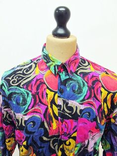 Vintage 1990s Psychedelic Bright Floral Loud Mod Party Pattern Shirt Large