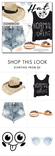 """""""Summer is here :)"""" by fashion-pol ❤ liked on Polyvore featuring One Teaspoon, Schutz, Eve Lom, polyvoreeditorial and summerhat"""