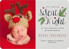 Shop Silent Night Birth Announcement Holiday Card created by Orabella. Personalize it with photos & text or purchase as is! Baby Christmas Photos, Newborn Christmas, Babies First Christmas, Christmas Photo Cards, Holiday Cards, Xmas Cards, Holiday Fun, Holiday Ideas, Greeting Cards