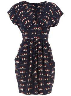 Bird print tie back dress - Day Dresses - Dresses - Dorothy Perkins - Svpply