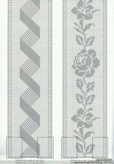If you looking for a great border for either your crochet or knitting project, check this interesting pattern out. When you see the tutorial you will see that you will use both the knitting needle and crochet hook to work on the the wavy border. Filet Crochet Charts, Crochet Borders, Cross Stitch Borders, Crochet Diagram, Crochet Motif, Crochet Designs, Crochet Doilies, Cross Stitch Patterns, Crochet Bedspread Pattern