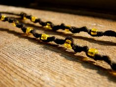Bumblebee  Yellow Beaded Black Hemp Necklace by ecocreations