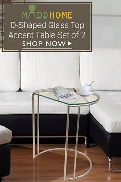 D Shaped Gl Top Accent Table Set Of 2