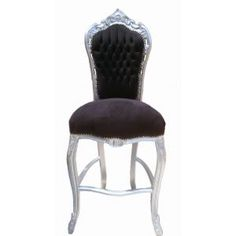 BAR CHAIR BAROQUE ROCOCO STYLE BLACK VELVET AND SILVERED WOOD