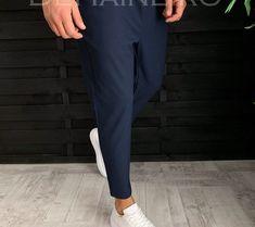 Pantaloni barbati eleganti bleumarin ZR A3805 A-1
