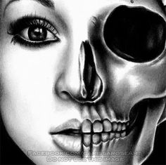 In A Trance Half Skull Beautifully Dark Portrait by Carissa Rose for sale by… Copic, Half Skull, Dark Portrait, Death Art, A Level Art, Gcse Art, Human Condition, Skull Art, Art Sketchbook