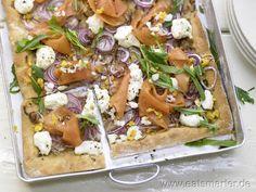 Räucherlachs Pizza mit Ricotta