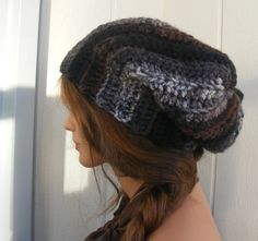 Crocheted Slouch Hat - Black Gray  Brown