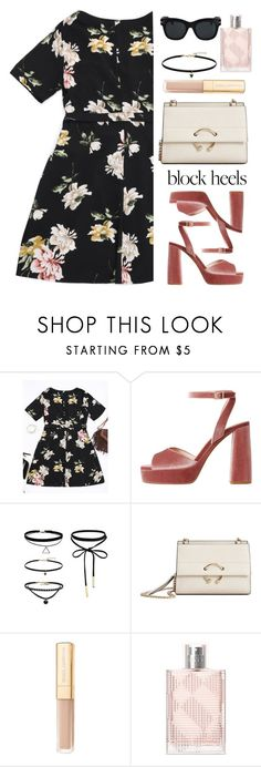 """""""Step Up: Block Heels"""" by justkejti ❤ liked on Polyvore featuring MANGO, Burberry, vintage, floraldress, under100, blockheels and zaful"""