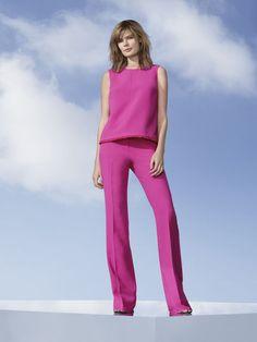 Women's Fuchsia Twill Tank Top, $26 Women's Fuchsia Twill Flared Trouser, $40