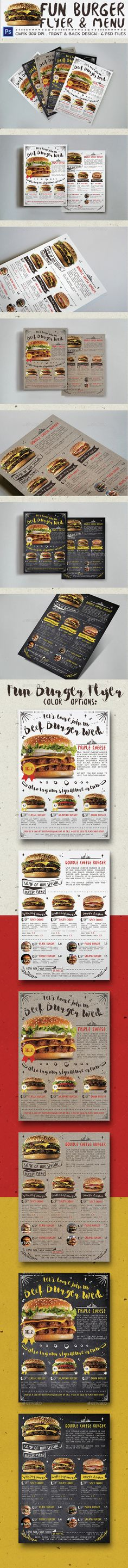 Fun Burger Flyer & Menu Template PSD. Download here: http://graphicriver.net/item/fun-burger-flyer-menu/15169916?ref=ksioks