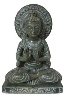 Meditating Stone Statue of Sarnath Buddha Sculptures Figurine 8""
