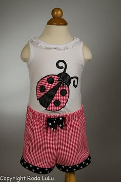 Lady Bug Lady Bug Fly Away Home 2pc Appliqued Short by RodaLuLu, $22.00