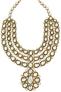 Uncut diamonds in 18K gold necklace