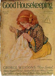 "March 1926 ""Good Housekeeping"" Magazine Cover ~ Illustration by Jessie Willcox Smith American Illustrator . Vintage Ephemera, Vintage Ads, Vintage Sewing, Vintage Posters, Old Magazines, Vintage Magazines, Vintage Books, Vintage Artwork, Vintage Prints"