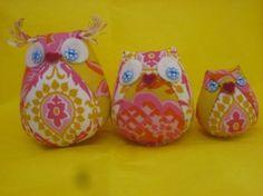 Fun fabric owl family