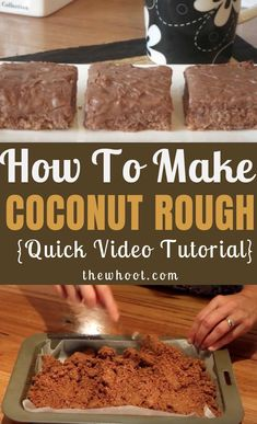 You will love this delicious Coconut Rough Slice Recipe and it is a real family favorite that is legendary. Watch the video tutorial now. Coconut Rough Recipe, Coconut Recipes, Tart Recipes, Candy Recipes, Dessert Recipes, Coconut Bars, Chocolate Coconut Slice, Chocolate Recipes, Condensed Milk Recipes