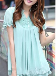 #Style #Blouses #Korean Hip Korean Style Short Sleeves Chiffon Lace Large Size Blouse
