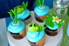 Cute cupcakes at a Frog Party.  See more party ideas at CatchMyParty.com. #frogpartyideas