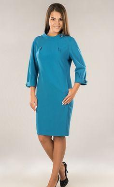 Купить бирюзовое платье с оригинальным воротником в интернет-магазине (цвет: бирюзовый) | ВЕЛ-М-284К-04