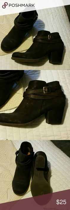 Brown booties Brown suede like booties. Worn very little. Zip closure. Very cute with skinny jeans. Nicole by Nicole Miller Shoes Ankle Boots & Booties