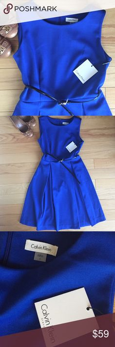 🆕 NWT Calvin Klein blue dress Classy & sophisticated Calvin Klein sleeveless dress. Attached is a back belt that cinches your waist. Zipper back. ALL OF MY ITEMS ARE ON OTHER APPS & WILL SELL.....BUY NOW! Calvin Klein Dresses Midi