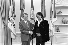 """From the National Archives exhibit, """"When Nixon Met Elvis,"""" this is the base photo for the one that is currently showing up doctored as Elvis and Darth Vader (http://pinterest.com/pin/175218241725871308/).  See the complete and fascinating story (plus more photos) of this particular meeting here: http://www.archives.gov/exhibits/nixon-met-elvis/"""