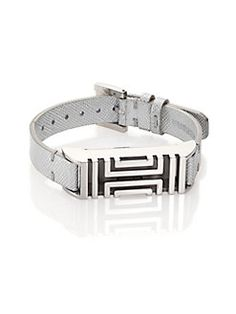 Tory Burch - Tory Burch For Fitbit Metallic Textured Leather Bracelet/Silvertone