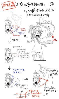 Twitter / yohukasi: 夜ふかしワンポイントメモ?㉔ 腕を前に出した時の描き方を知り ...