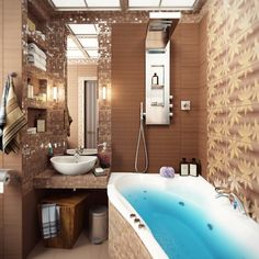 Brown mosaic bathroom tile