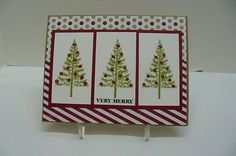Fun sketch this week.  I chose to make a Christmas Card using one of my new sets from SU.  I stamped my trees in Old Olive and then the circles in Versa Mark and heat embossed with Cherry Cobbler powder.  My DP is from last year's holiday mini catty.  If I had made an A6 card, I would have added some ribbon.  TFL ladies.  Still no computer....................  :(