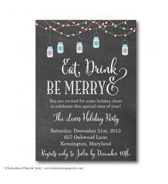 Mason Jar Holiday Party Invitation