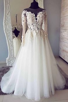 Custom Made Appealing Prom Dresses White White Round Neck Lace Applique Long Prom Dress, White Wedding Dress Princess Style Wedding Dresses, Boho Wedding Dress Bohemian, Lace Wedding Dress With Sleeves, Lace Mermaid Wedding Dress, Long Wedding Dresses, Dress Wedding, Prom Dresses, Tulle Wedding, Dress Lace