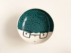 Ceramic serving bowl with character - teal serving bowl - ceramic face bowl - face plate - MADE TO ORDER on Etsy, $35.00