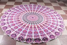 Indian Peacock Mandala Tapestry Round Cover Roundie Yoga Mat Boho Beach Throw #Handmade #Traditional #BeachThrowYogaMatTableCoverWallHanging