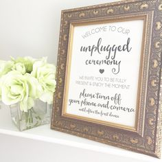 Unplugged Wedding Sign Digital Download (your photographer will love you!)