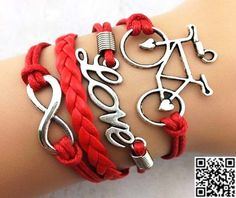 Red wax rope leather braided bracelet  infinity love by Carlydiy, $5.99