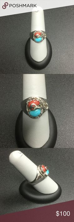 Sterling Silver with turquoise & coral ring Finest Zuni craftsmanship!  Handcrafted by artist Ellie Calavaza.  There are 4 stones including 2 that are inlaid as the snake's eyes.  The other 2 are set in hand cut bezel in the midst of a gorgeous silver snake design Zuni Jewelry Rings
