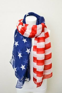 Vintage American Flag Scarf Patriotic July 4th by ColoradoChickCo