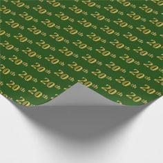 Green Faux Gold 20th (Twentieth) Event Wrapping Paper - giftidea gift present idea number twenty twentieth bday birthday 20thbirthday party anniversary 20th