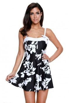 f2afb04ee5b88 White Floral Print Black Swimdress with Panty. Vintage Swimsuits ...
